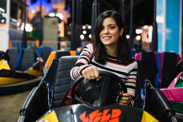 Girl on bumper car