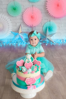 Girl and cake first. turquoise