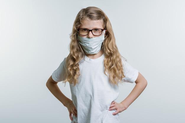 Girl child in medical mask