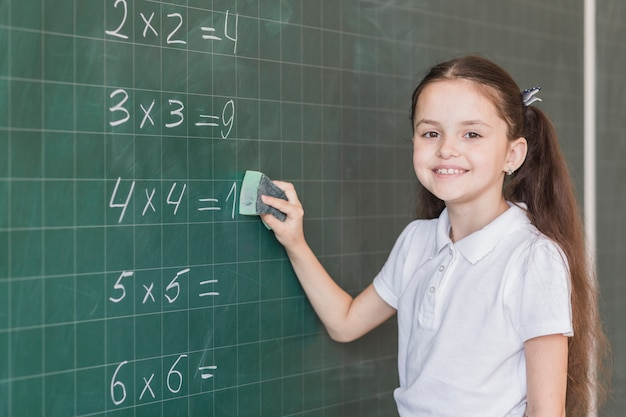 Girl cleaning blackboard with calculations