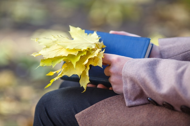 Girl in a coat holding maple leaves and a book in the park in autumn