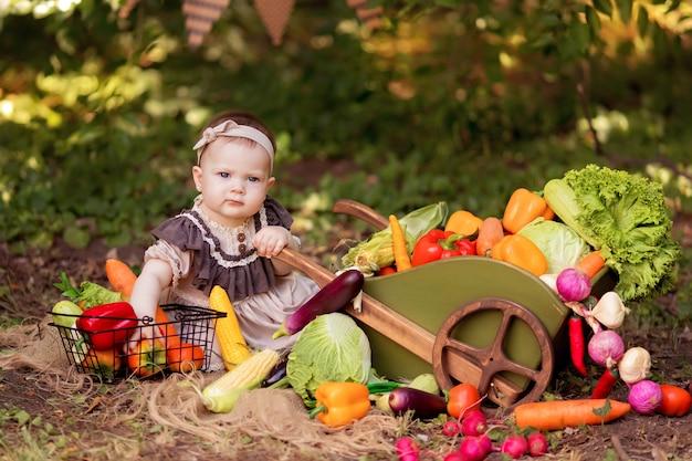 女の子は自然の中で野菜のサラダを調理します。庭師は野菜を収穫します。商品のお届け