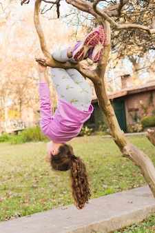 Girl dangling from tree branch in the park