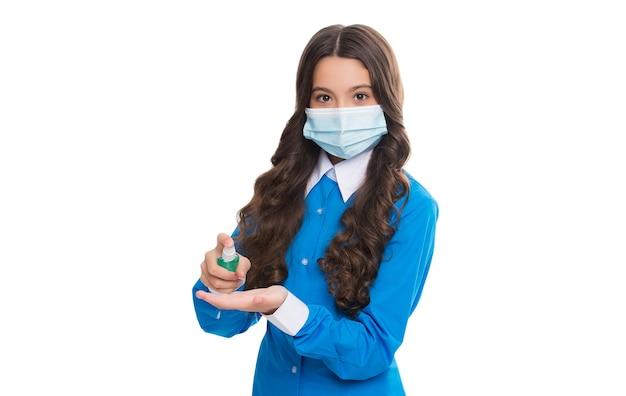 白く消毒剤で分離された抗菌消毒ジェルとしてコロナウイルスパンデミックの発生に対する予防衛生対策を使用した呼吸器マスクのガールドクター疫学者。