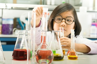 Girl doing chemical experiments