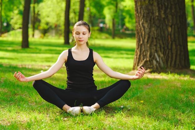 Girl doing lotus posture