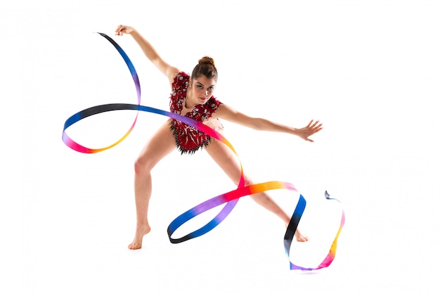 Girl doing rhythmic gymnastics with ribbon