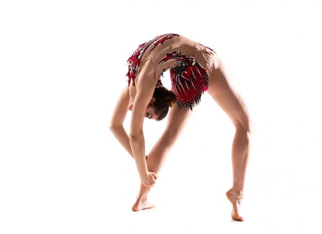 Girl doing rhythmic gymnastics