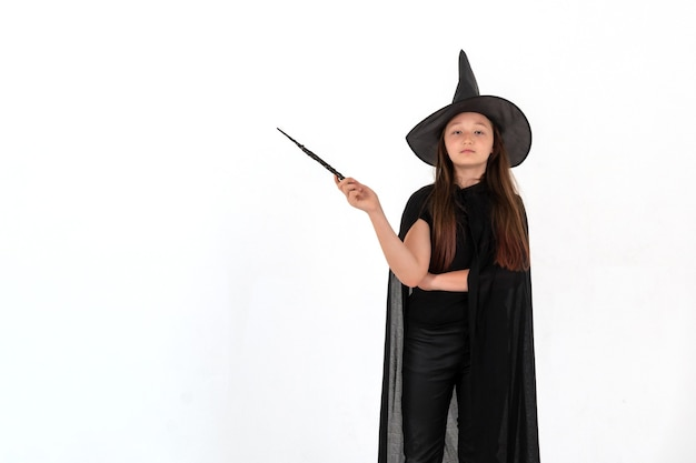A girl dressed as harry potter for halloween