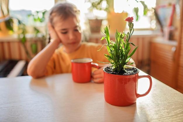 コーヒーを飲み、赤いマグカップの家の花の装飾に植え替えられた緑の咲く花を楽しんでいる女の子