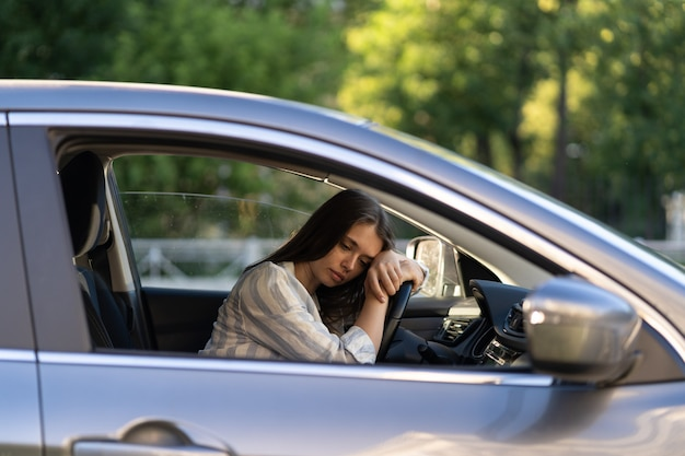Girl driver feeling doubtful confused about difficult decision suffering from burnout life crisis