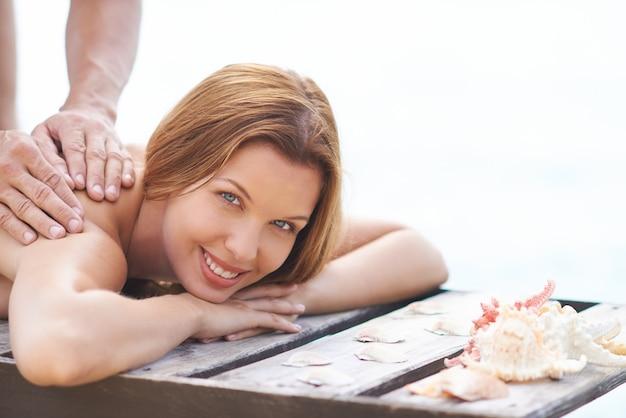 Girl enjoying a massage