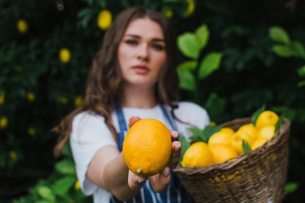 バスケットを持つ少女農夫は彼女の手でレモンのクローズアップを保持しますレモンに焦点を当てる