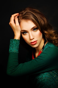 Girl fashion model. pretty woman with wave hairstyle and makeup