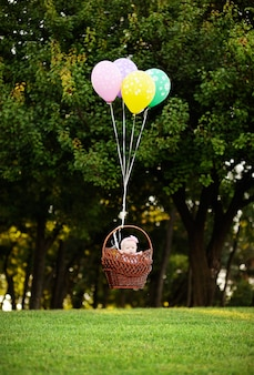 The girl flies on balloons on a background of green trees