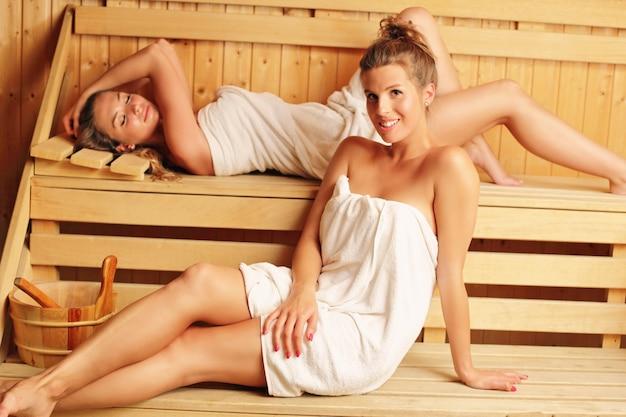 Girl friends relaxing in wooden sauna