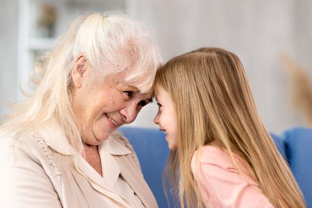 Girl and grandma together