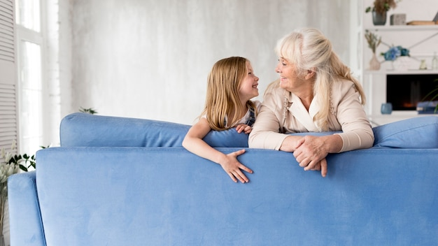 Girl and grandmother spending time