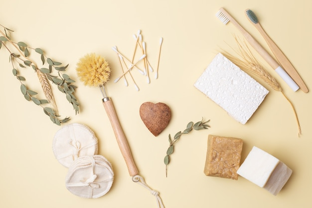 Girl hands with coconut heart on eco-friendly flatlay with eco-friendly beauty products plastic free life. high quality photo