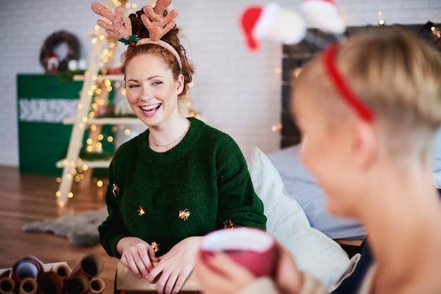 Girl having fun at christmas time