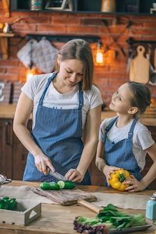 Девушка помогает маме на кухне