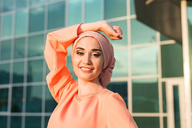 Girl in hijab. portrait of a smiling beautiful muslim woman