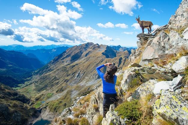 山の中の女の子ハイカーカメラマンアイベックス