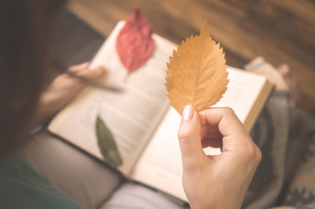 Girl hold autumn leaf on background of old book. hygge cozy concept background photo