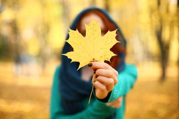 秋に黄色のカエデの葉を抱える少女=
