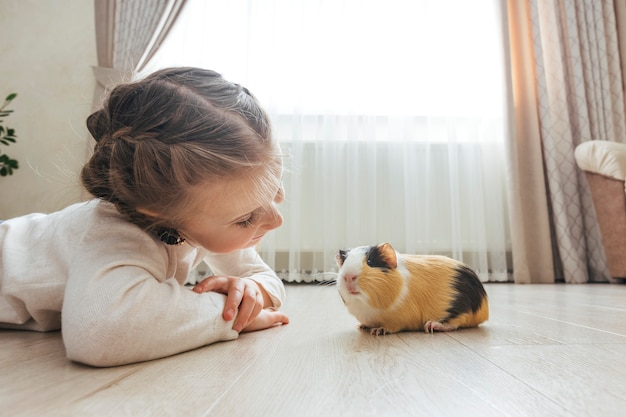 Girl holding a guinea pig in her arms