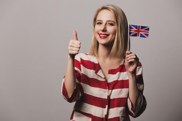 Girl holds british flag