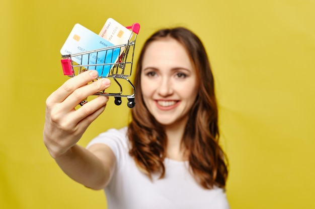 Girl holds credit cards in a shopping trolley on a yellow background.