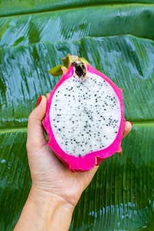 The girl holds in her hand a ripe cut dragon fruit