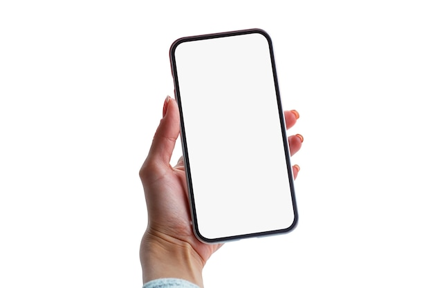 Girl holds a mock-up of a black smartphone close-up isolated on a white background.