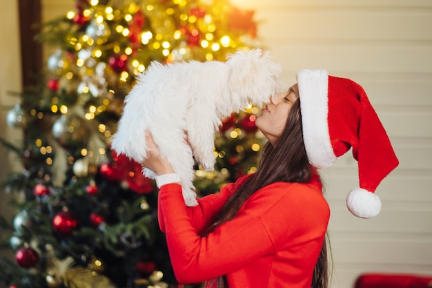 A girl holds a small dog on her hands at christmas tree