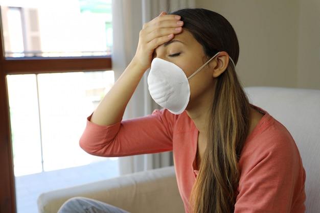 Girl home isolation mask on face for coronavirus disease 2019.