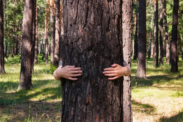 숲에서 나무를 포옹하는 여자