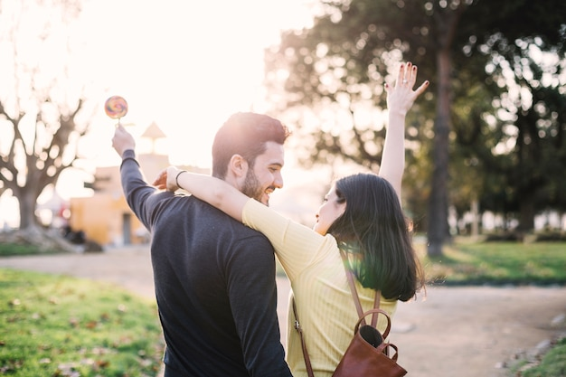 Girl hugging her boyfriend