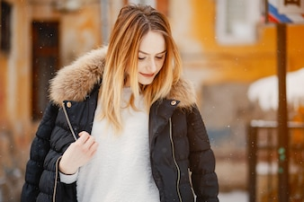 Girl in a winter city