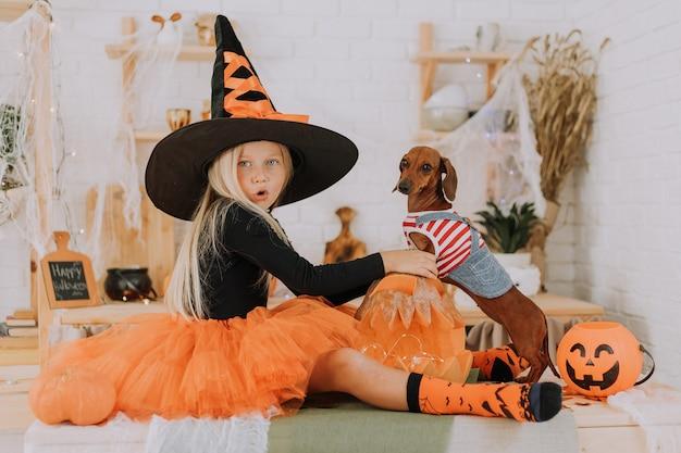 ハロウィーンの魔女の衣装を着た女の子と犬のジャンプスーツの小さなダックスフントが部屋の床に座っています