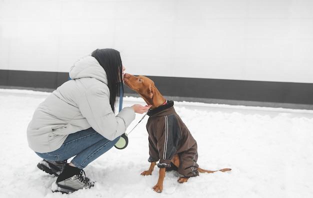 冬の雪の中、女の子は上着を着て、犬は通りで服を着ています