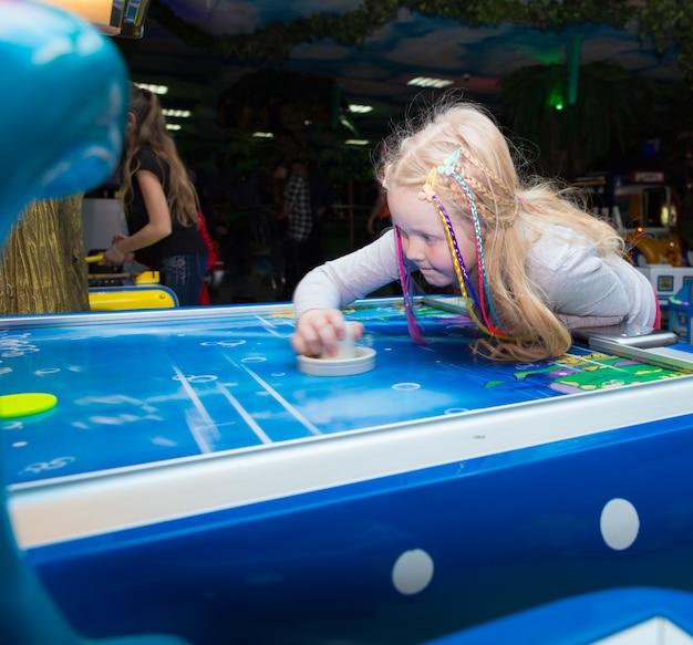 A girl is having fun in an amusement park