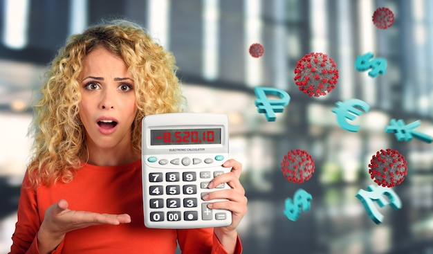 Girl is shocked and shows negative number of economy crisis due to covid coronavirus