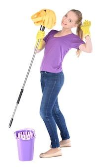The girl is wearing gloves and holding a mop in her hand.