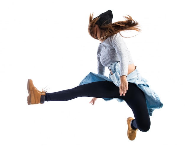 Girl jumping in hip hop style