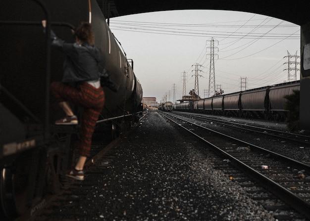 Girl at the la railorad tracks