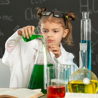Girl in laboratory doing tests