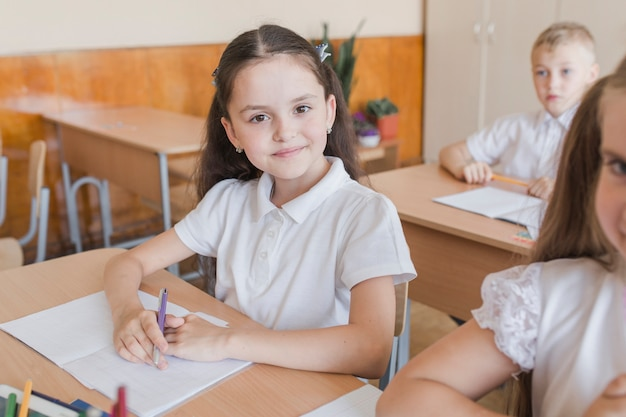 Girl looking at camera during lesson