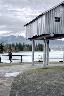 A girl looking to the mountains in vancouver