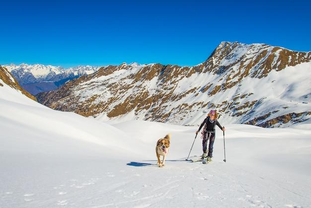 Девушка занимается ски-альпинизмом с собакой.